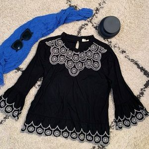 Black Blouse with white floral details